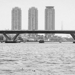 Black and White Chao Phraya Bridge Bangkok