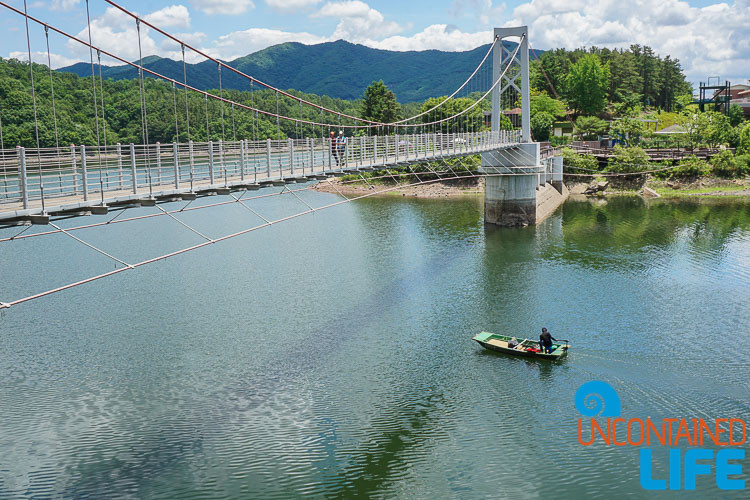 Sky Bridge, Fishing Boat, Jincheon, Off the Beaten Path in South Korea, Uncontained Life