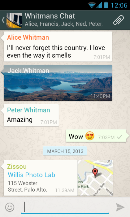 WhatsApp screen shot