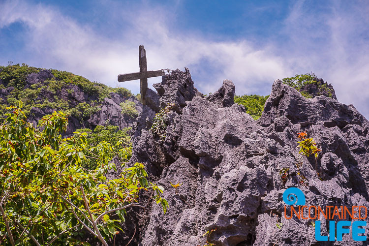 Top of Cliffs, El Nido, Palawan, Philippines, Uncontained Life, Cross