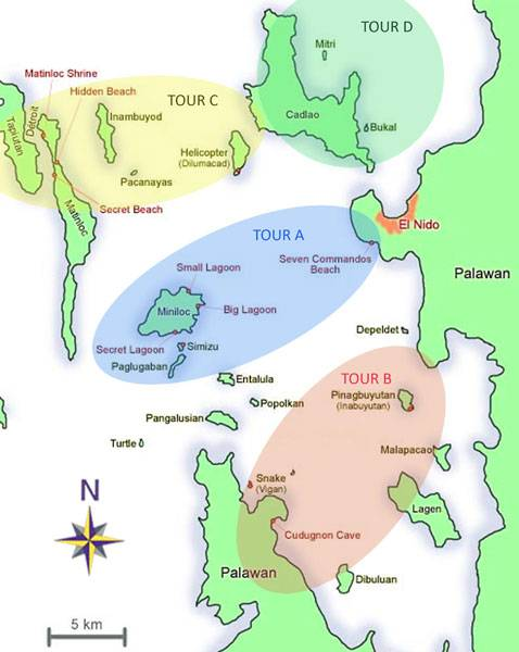 Map of El Nido Island Hopping Tours