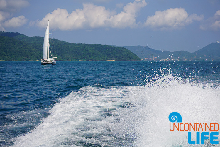 Sailboat, Wake, Blue World Safari, Phi Phi Islands, Phuket, Thailand, Uncontained Life