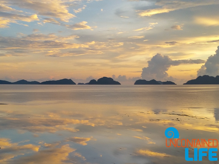 Magic Hour, Sunset, Islands, Reflection, El Nido, Palawan, Philippines, Uncontained Life