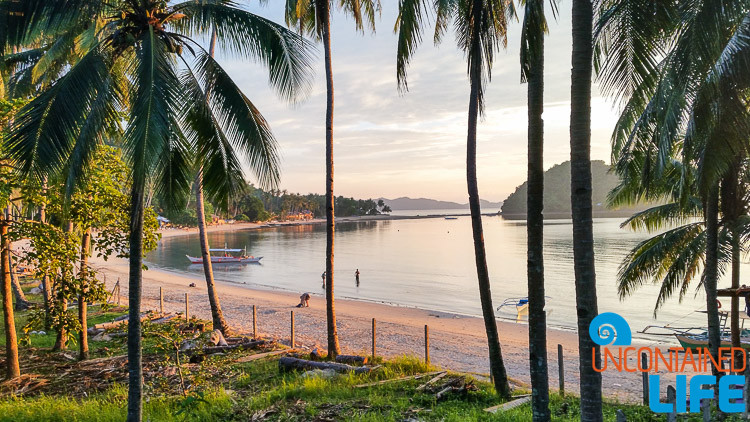 Las Cabana Beach, Palm Trees, Sunset, El Nido, Palawan, Philippines, Uncontained Life