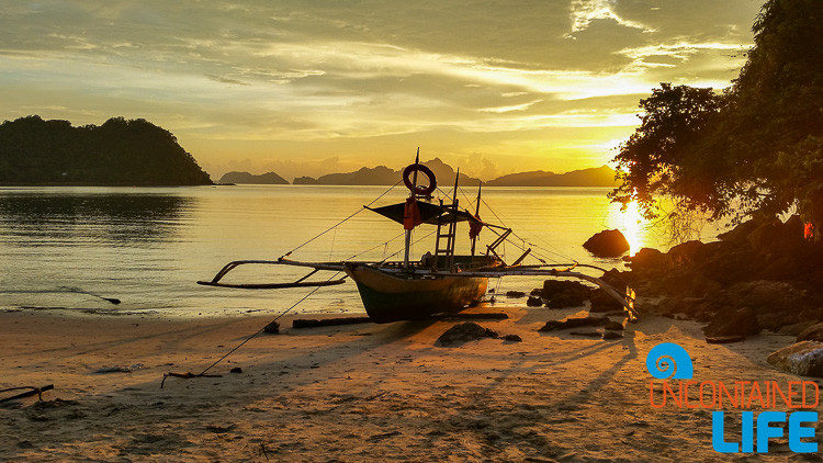 Outrigger Canoe, Sunset, Beach, El Nido, Palawan, Philippines, Uncontained Life