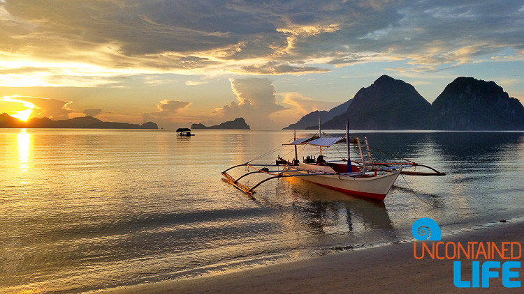 Sunset, Outrigger Canoe, Islands, Carong Carong, El Nido, Palawan, Philippines, Uncontained Life