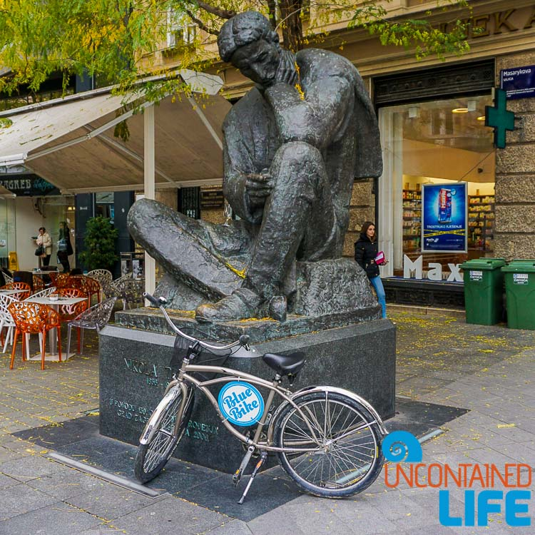 Tesla Statue, Blue Bike, exploring central Zagreb, Croatia, Uncontained Life
