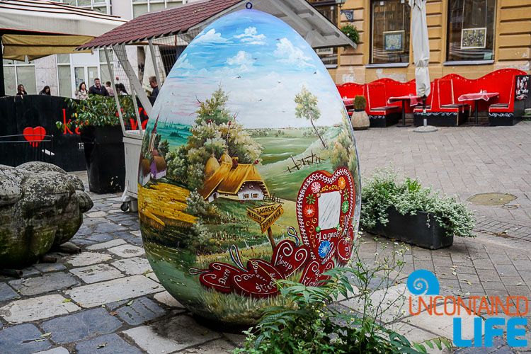 Painted Egg, Bloody Bridge, exploring central Zagreb, Croatia, Uncontained Life