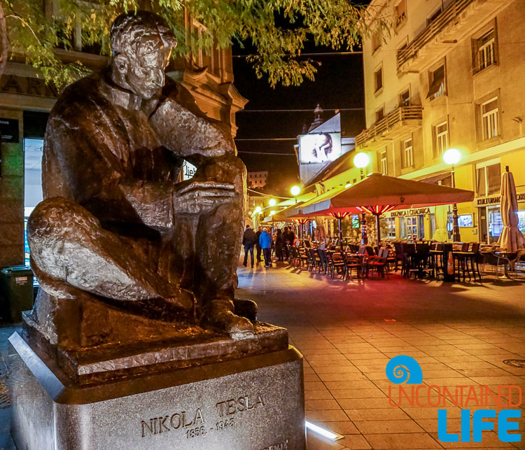Tesla Sculpture, Evening, exploring central Zagreb, Croatia, Uncontained Life