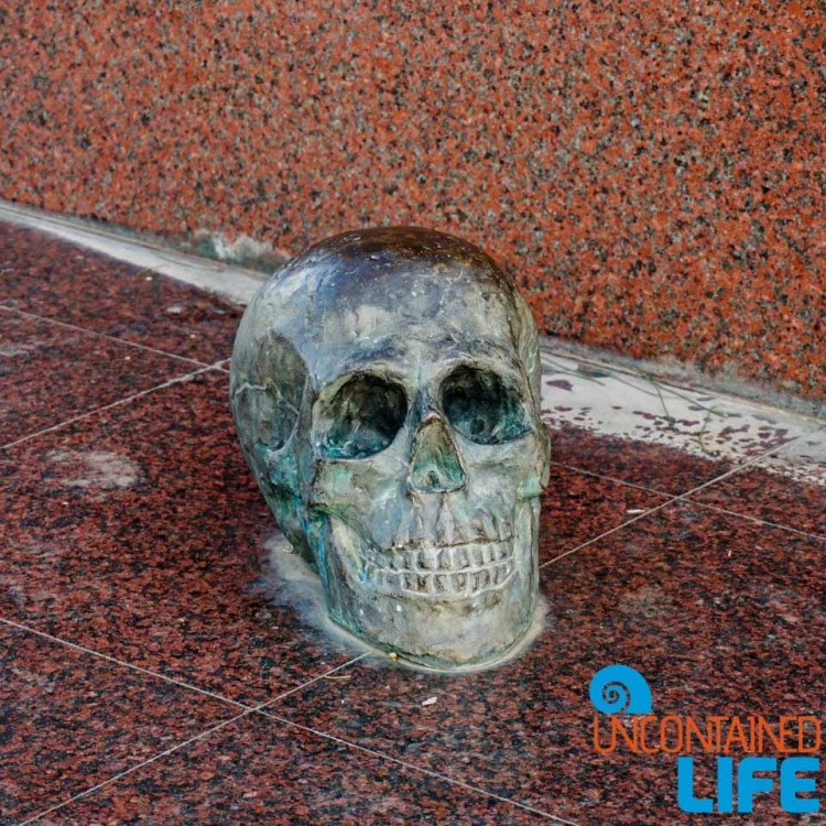Skull, Sculpture, Vladimir Vysotsky Monument, See and do in Podgorica, Montenegro, Uncontained Life