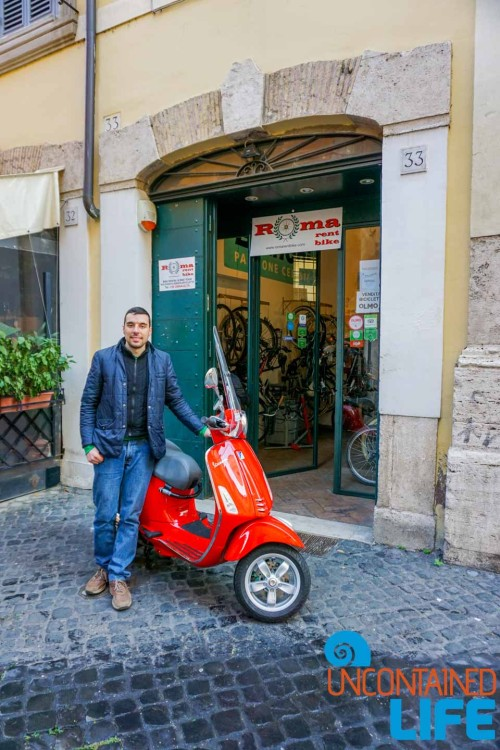 Roma Rent Bike, Vespa, bike tour of Rome, Uncontained Life