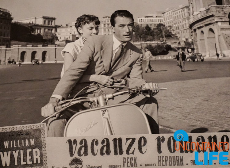 Roman Holiday, Gregory Peck, Audrey Hepburn, bike tour of Rome, Uncontained Life