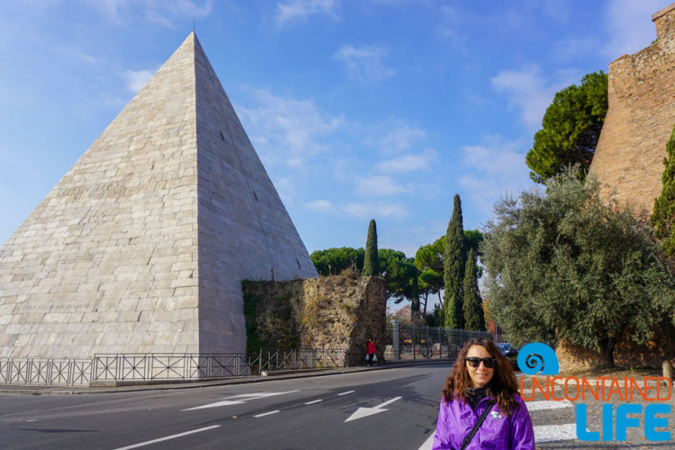 Egyptian Pyramid, bike tour of Rome, Uncontained Life