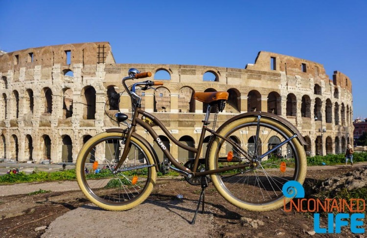Colosseum, Roma Rent Bike, bike tour of Rome, Uncontained Life