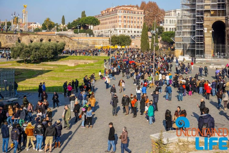Crowds at Colosseum, bike tour of Rome, Uncontained Life