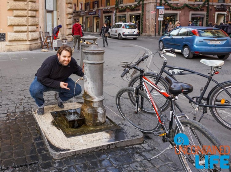 Water Fountain, bike tour of Rome, Uncontained Life