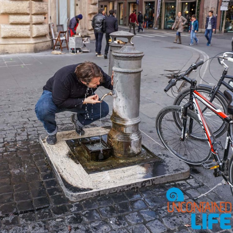 Drinking Fountain, Italy, bike tour of Rome, Uncontained Life