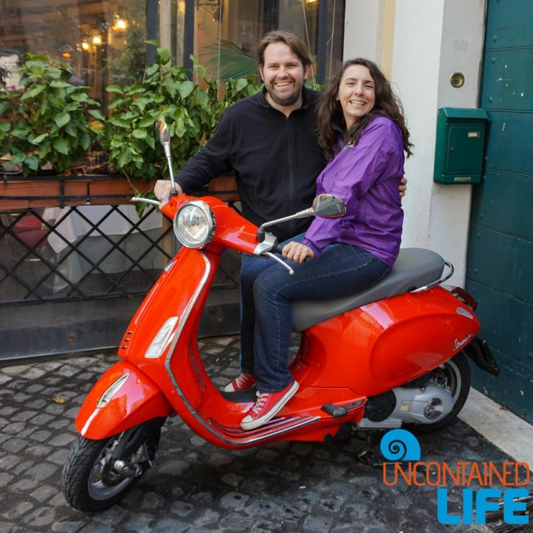 Vespa, bike tour of Rome, Uncontained Life