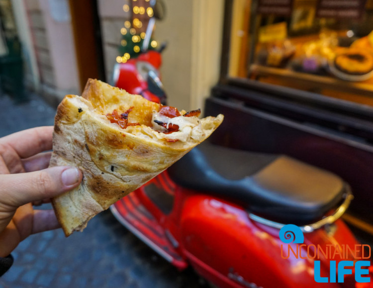 Pizza, Vespa, Italy, bike tour of Rome, Uncontained Life