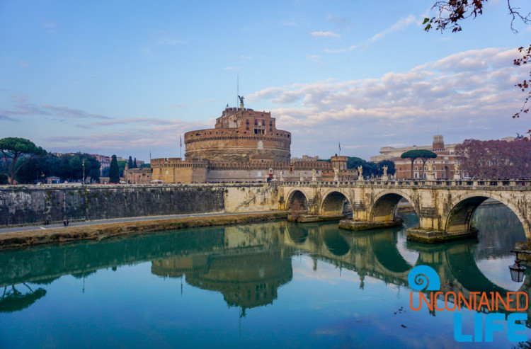 Castel Sant' Angelo, bridge, bike tour of Rome, Uncontained Life