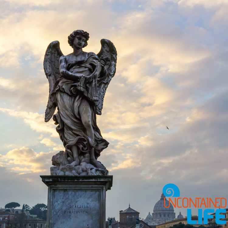 angel statue, italy, bike tour of Rome, Uncontained Life