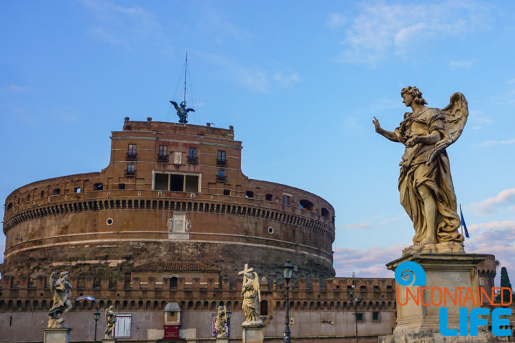 Castel Sant' Angelo, angel statue, bike tour of Rome, Uncontained Life