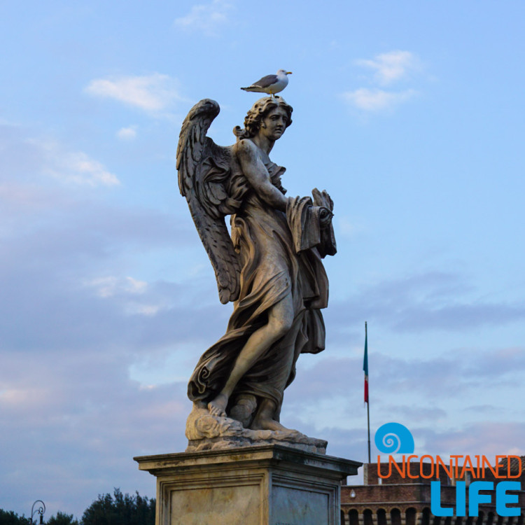 Seagull on Angel Statue, bike tour of Rome, Uncontained Life