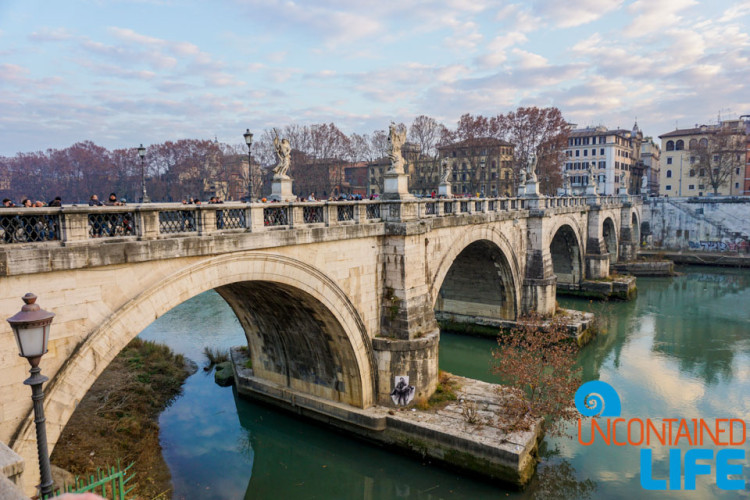 Ponte Sant' Angelo, bridge, bike tour of Rome, Uncontained Life