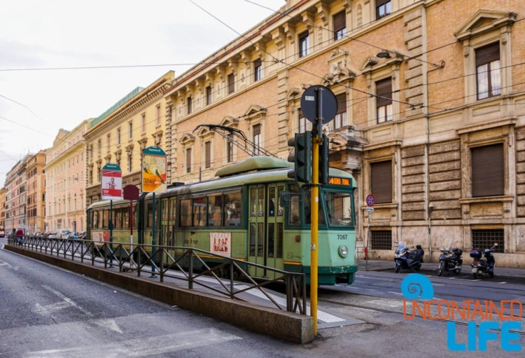 Tram, Italy, bike tour of Rome, Uncontained Life