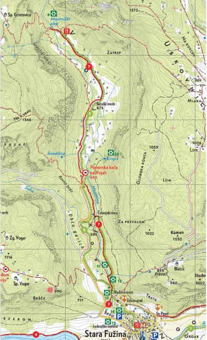Trail Map, Hiking Mostnica Gorge, Slovenia, Uncontained Life