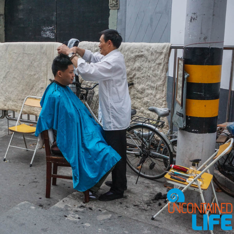Street Haircut, 24 Hours in Shanghai, China, Uncontained Life