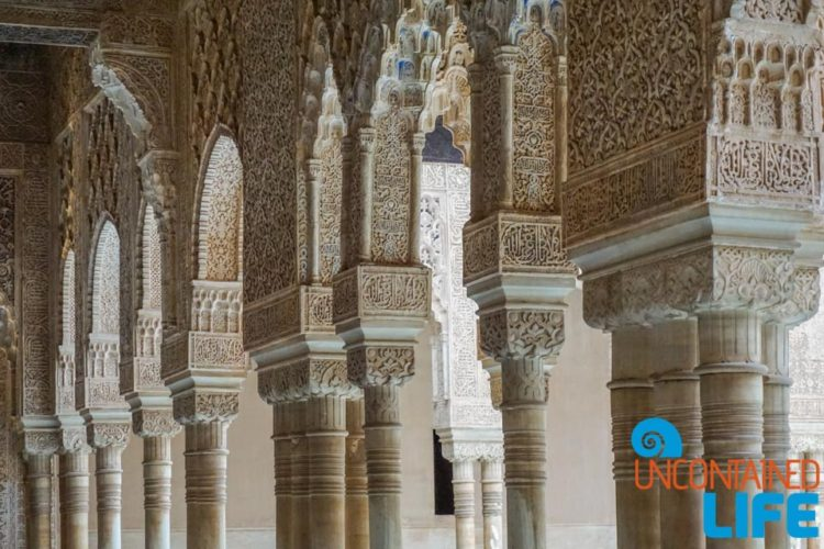 Pillars, Nasrid Palaces, Visit the Alhambra, Granada, Spain, Uncontained Life