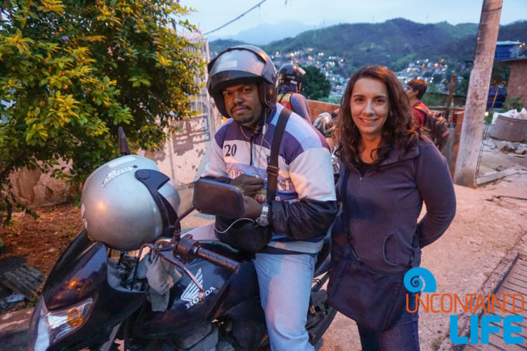 Moto Taxi, visiting favelas in Rio de Janeiro, Brazil, Uncontained Life