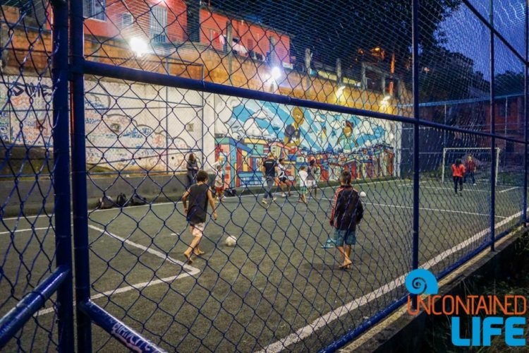 Soccer pitch, visiting favelas in Rio de Janeiro, Brazil, Street Child United, Uncontained Life