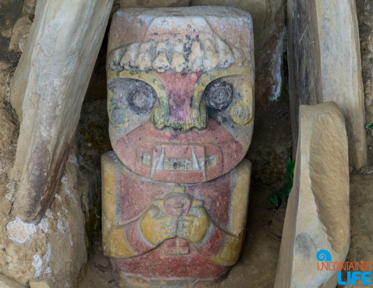 Painted Stone Statue, Horseback Riding in San Agustin, Colombia, Uncontained Life