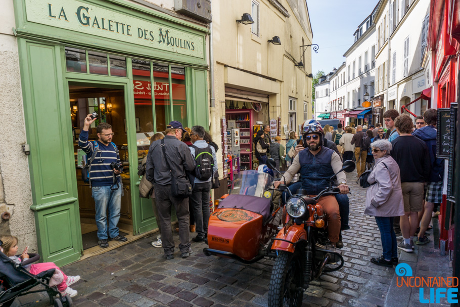 Bakery, Motorcycle, Amélie's Montmartre, Paris, France, Uncontained Life