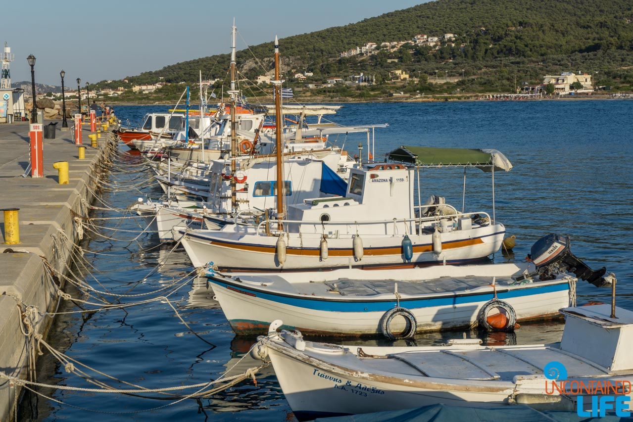 Boat in Harbor, Visit Agistri, Greece, Uncontained Life